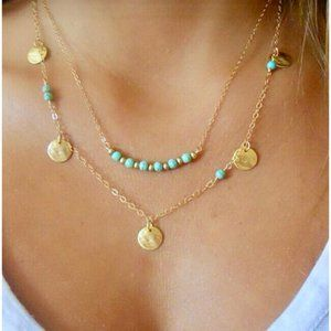 2 Layer Necklace Gold Coins Turquoise Beads Choker